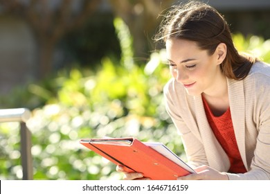 Studious student reading notes studying sitting in a park or university campus