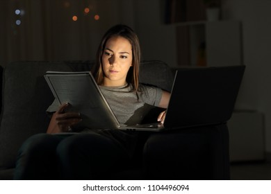 Studious student studying online late hours in the night at home