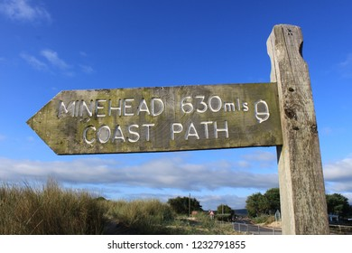Studland, Dorset. England. June 7, 2011. Minehead 630 miles south west coast path sign. The End and Start of the long distance national trail