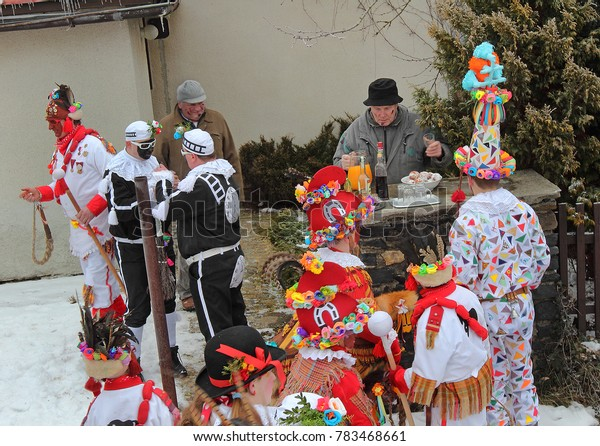 STUDNICE, HLINECKO, CZECH REPUBLIC - FEBRUARY 9: Shrovetide door-to-door processions and masks on February 9, 2013 in Studnice village is on UNESCO List of the Intangible Cultural Heritage of Humanity