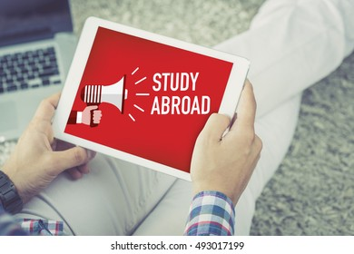 STUDY ABROAD announcement concept on screen