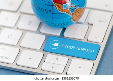 STUDY ABROAD AND KEYBOARD CONCEPT