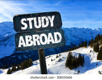 Study Abroad sign with alps on background