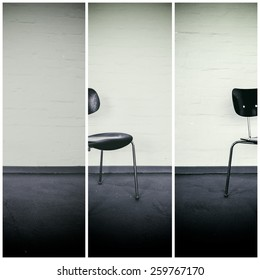 Study of a chair in front of a white wall.