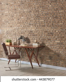 study desk behind natural brick wall empty frame and masculine furniture with hard wood floor