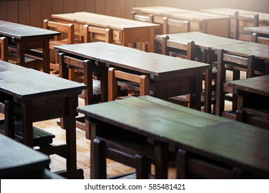 Study desk in the classroom. Elementary school in Japan.