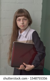 Study digital technologies.Child carry laptop for lesson. Digital equipment concept. Education and digital technology. Modern generation knowledge. Schoolgirl with a laptop. Back to school