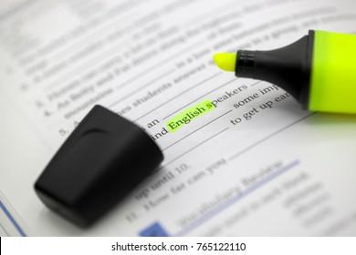 study English with phosphoric marker