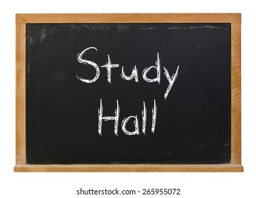 Study Hall written in white chalk on a black chalkboard isolated on white