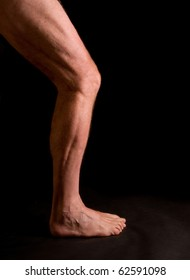 study, musculature of male athlete's leg