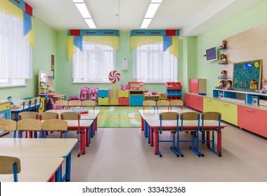 Study room and games in kindergarten.