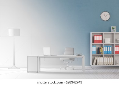Study room or home office as  draft planning process (3D Rendering)