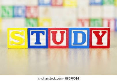 Study Spelled Out in Alphabet Building Blocks