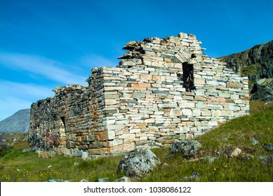 Study of stonework at Hvalsey Viking Church where on Sept. 14, 1408, Thorstein Olafsson and Sigrid Björnsdottir were married. Vikings from Scotland helped to build the church in mid-12th century.