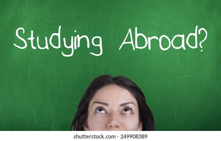 Studying Abroad Concept / Student Thinking About Studying Abroad
