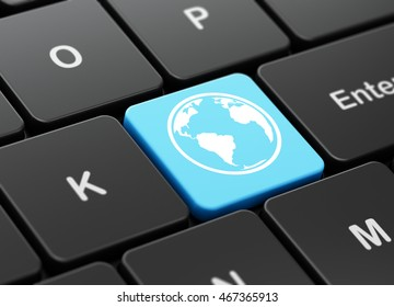 Studying concept: computer keyboard with Globe icon on enter button background, 3D rendering