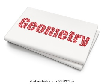 Studying concept: Pixelated red text Geometry on Blank Newspaper background, 3D rendering