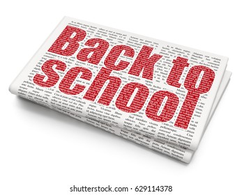 Studying concept: Pixelated red text Back to School on Newspaper background, 3D rendering