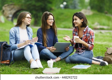 Studying on lawn