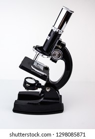 Studying through a microscope, scientific experiment, isolated object on white background