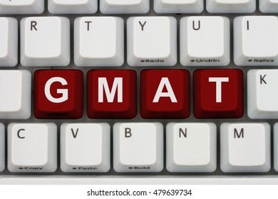 Studying for your GMAT online, A close-up of a keyboard with red highlighted text  GMAT