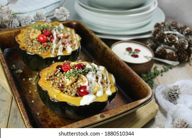 Stuffed Acorn Squash with Buckwheat. apple and cranberries, drizzled  with creamy dressing.
