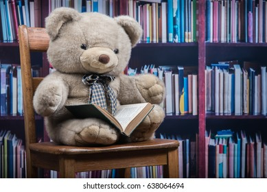 Stuffed animal bear holds an open book sitting on an old wooden chair in front of a book shelf