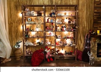 Stuffed animal toys in the rack, Christmas interior