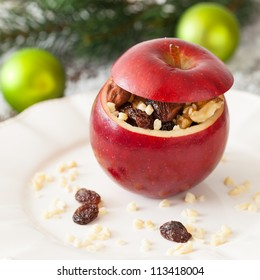stuffed apple with raisins and nuts
