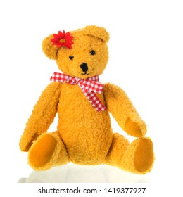 Stuffed bear toy with flower in hair isolated over white background