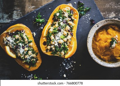 Stuffed Butternut Squash with quinoa, kale, cranberries, and chick peas