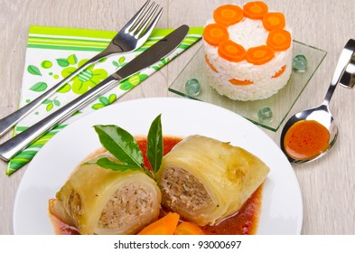 stuffed cabbage leaf with rice