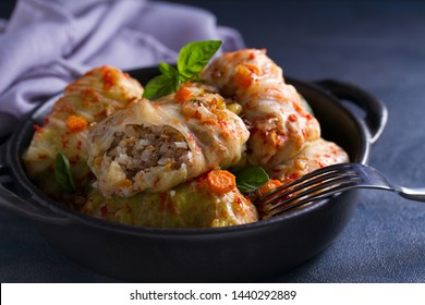 Stuffed cabbage leaves with meat, rice and vegetables. Chou farci, dolma, sarma, sarmale, golubtsy or golabki - popular dish in many countries