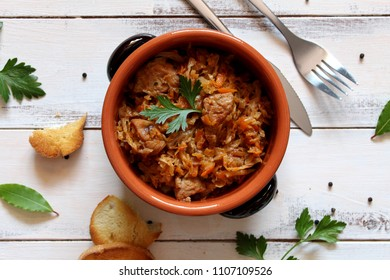 Stuffed cabbage with meat. Bigos, the traditional Polish dish. Top view. Diet food.