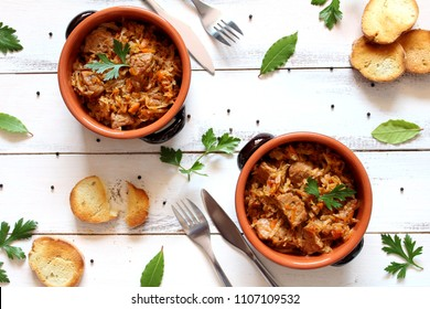Stuffed cabbage with meat. Bigos, the traditional Polish dish. Diet food. Top view.
