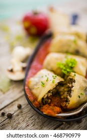 Stuffed cabbage with rice, mushroom and meat