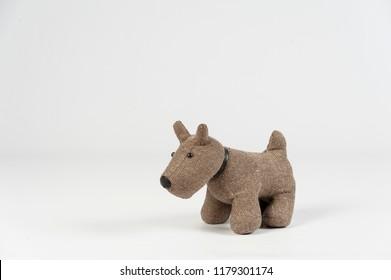 stuffed dog on white background