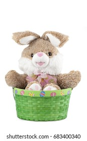 Stuffed easter bunny toy in a basket