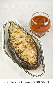 stuffed eggplant baked with rice homemade