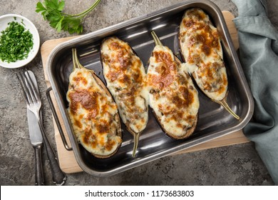 stuffed eggplant with meat, vegetable and cheese, top view