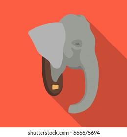 Stuffed elephant head.African safari single icon in flat style raster, bitmap symbol stock illustration web.