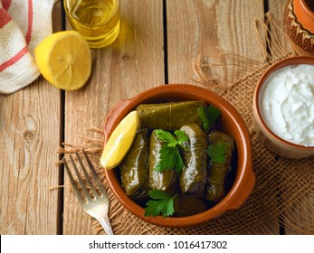 Stuffed grape leaves with rice and meat. Traditional  Turkish and Greek cuisine. Top view