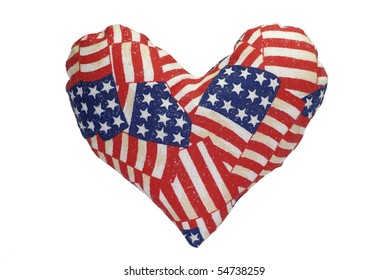 Stuffed heart with a US flag pattern