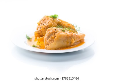 stuffed with meat and rice with roasted pepper sauce