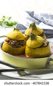 stuffed with minced zucchini with tomato sauce