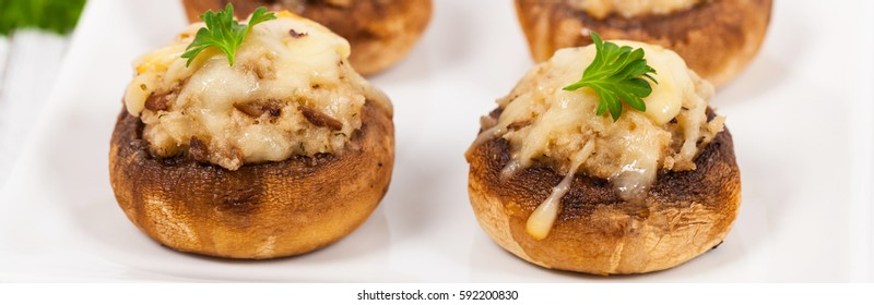 Stuffed Mushrooms. Selective focus.