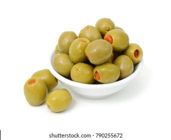 stuffed olives isolated on white background