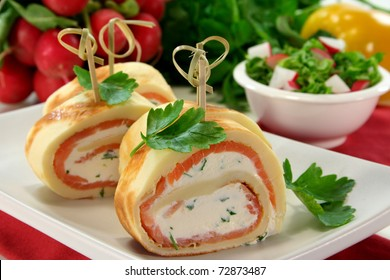 stuffed pancakes with smoked salmon and herb cream cheese