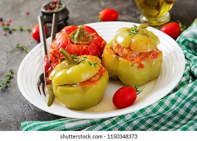 Stuffed pepper with minced meat and buckwheat porridge. Tasty food.