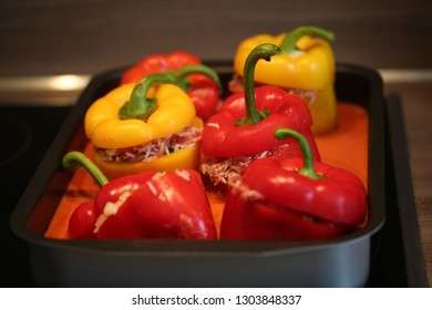 stuffed peppers on the stove